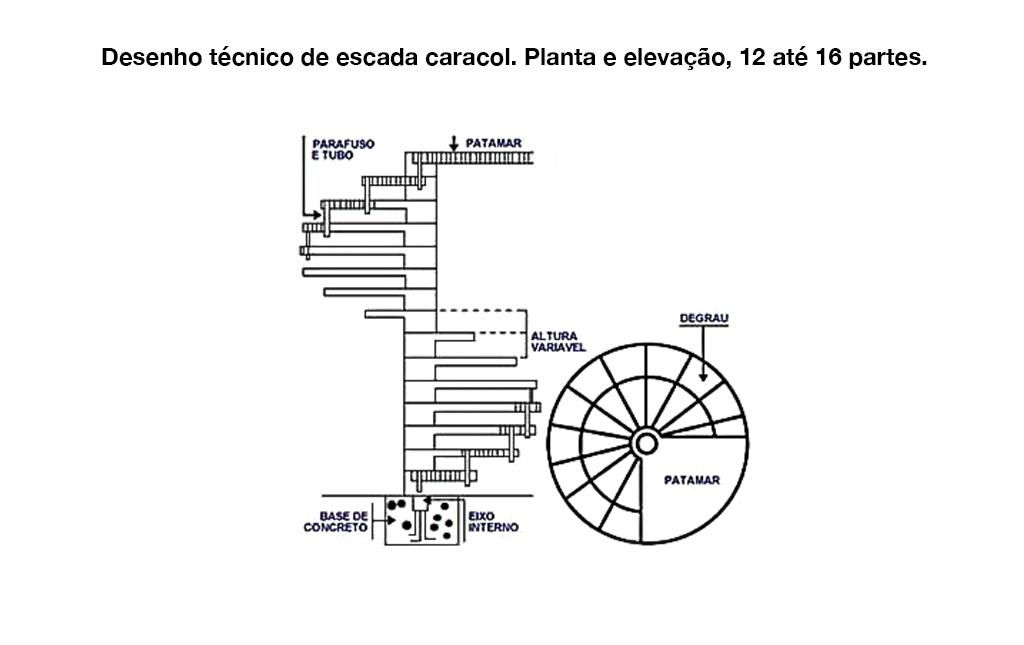 Desenho Técnico Escada Caracol